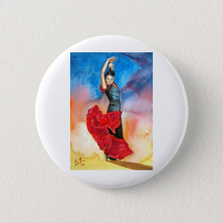 FLAMENCO DANCER watercolour 6 Cm Round Badge