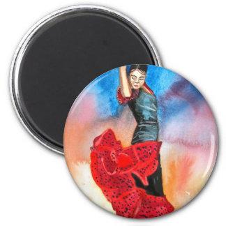 FLAMENCO DANCER watercolour 6 Cm Round Magnet