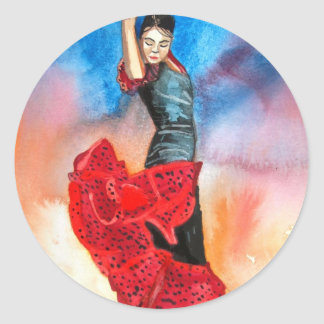 FLAMENCO DANCER watercolour Classic Round Sticker