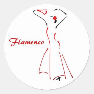 Flamenco Dancer with Customizable Slogan Round Sticker