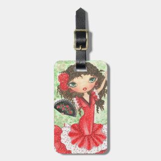 """""""Flamenco Dancer with Fan"""" Luggage Tag"""