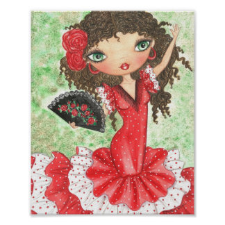 """""""Flamenco Dancer with Fan"""" Poster"""