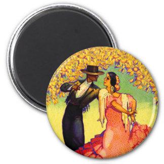Flamenco Dancers under the Orange Trees 6 Cm Round Magnet