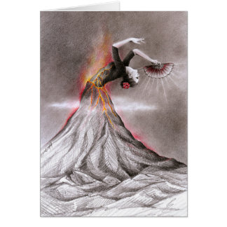 Flamenco dancing woman volcano surreal pencil art card