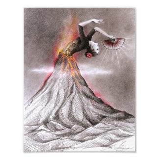 Flamenco dancing woman volcano surreal pencil art photo print