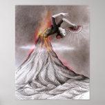 Flamenco dancing woman volcano surreal pencil art poster
