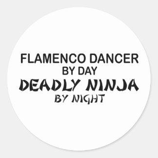 Flamenco Deadly Ninja by Night Classic Round Sticker