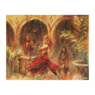 Flamenco in patio Andalusian Wood Wall Decor
