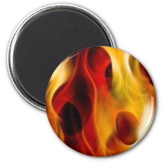 Flames 6 Cm Round Magnet