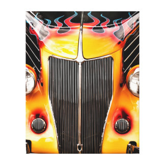 Flames and Chrome Hot Rod Stretched Canvas Print