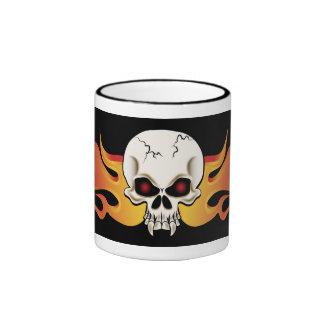 Flames and Fangs Skull Mug