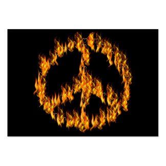 Flames and Hearts Peace Sign Business Cards