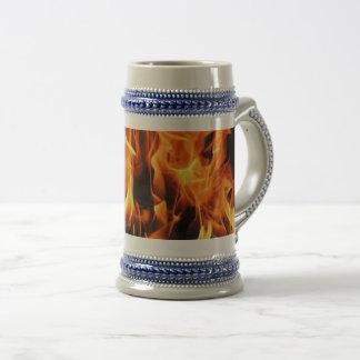 flames beer stein