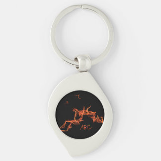 Flames Custom Monogrammed Silver-Colored Swirl Key Ring