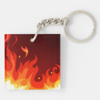 Flames Double-Sided Square Acrylic Key Ring