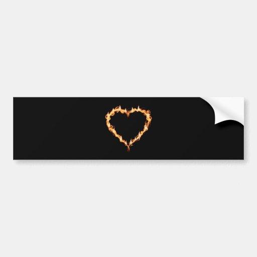 FLAMES HEAT black heart fire burning hot love Bumper Sticker
