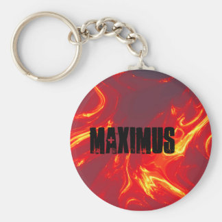 flames, maximus basic round button key ring