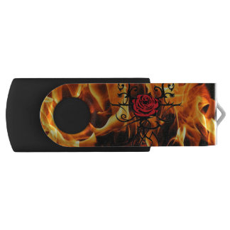 flames of the love rose USB flash drive