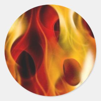 Flames Round Sticker