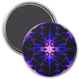 Flames Tribal Tattoo Purple and Blue 7.5 Cm Round Magnet