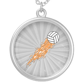 flames volleyball design personalized necklace