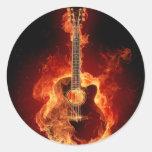 flamin guitar round sticker
