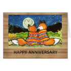 """Flamin' Love"" Red Foxes Romantic Anniversary Card"
