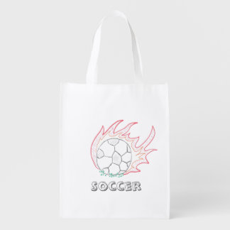 Flamin' Soccer ball reusable bag