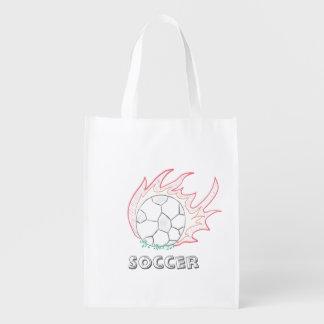 Flamin' Soccer ball reusable bag Grocery Bag