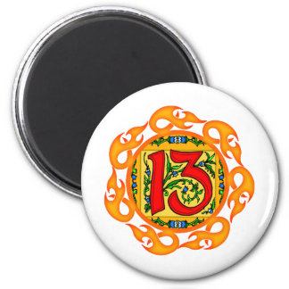Flaming 13th Birthday Gifts 6 Cm Round Magnet
