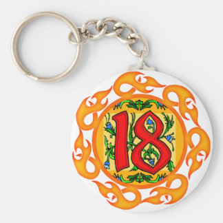 Flaming 18th Birthday Gifts Basic Round Button Key Ring