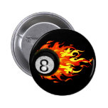 Flaming 8 Ball 6 Cm Round Badge