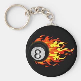 Flaming 8 Ball Basic Round Button Key Ring