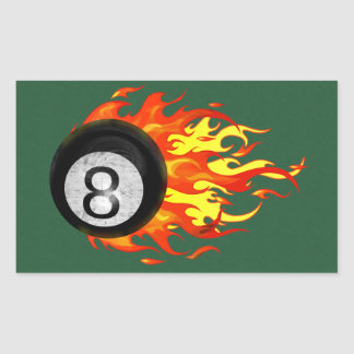 Flaming 8 Ball Rectangular Sticker