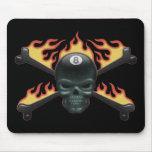 Flaming 8 Skull Mouse Pad