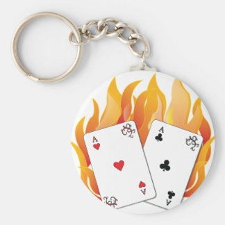 Flaming Aces Basic Round Button Key Ring