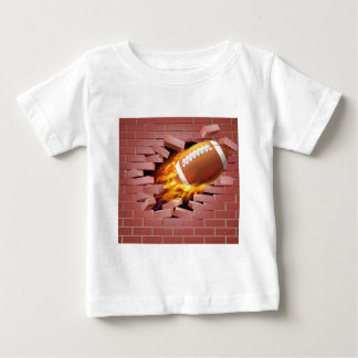 Flaming American Football Ball Breaking Through Br Baby T-Shirt