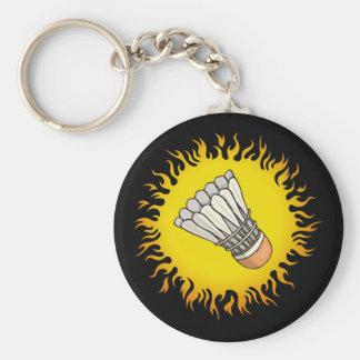 Flaming Badminton Key Ring