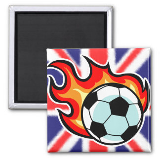 Flaming Ball Union Jack Square Magnet