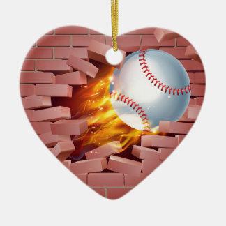 Flaming Baseball Ball Breaking Through Brick Wall Ceramic Heart Decoration
