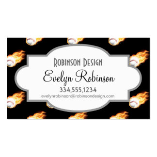 Flaming Baseball Pattern, Fire Balls Pack Of Standard Business Cards
