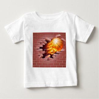 Flaming Basketball Ball Breaking Through Brick Wal Baby T-Shirt