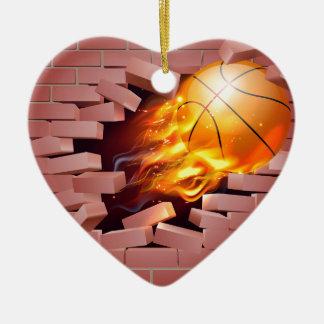 Flaming Basketball Ball Breaking Through Brick Wal Ceramic Heart Decoration