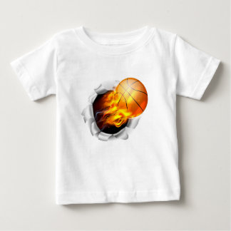 Flaming Basketball Ball Tearing a Hole in the Back Baby T-Shirt