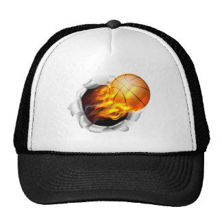 Flaming Basketball Ball Tearing a Hole in the Back Cap