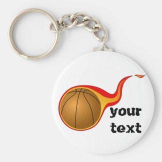 flaming basketball basic round button key ring