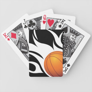 Flaming Basketball Black and White Bicycle Poker Deck