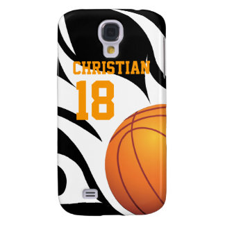 Flaming Basketball Black and White Galaxy S4 Case