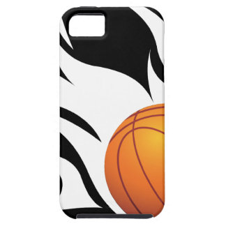 Flaming Basketball Black and White iPhone 5 Cases