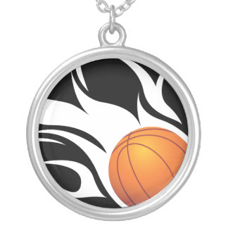 Flaming Basketball Black and White Necklace